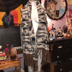 Steve Madden tribal oversized fringe scarf